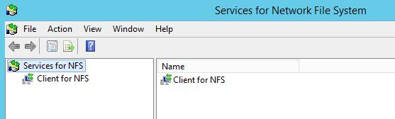 параметры NFS клиента (Client for NFS).