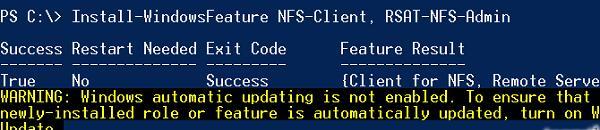 Установка клиента nfs в Windows с помощью powershell