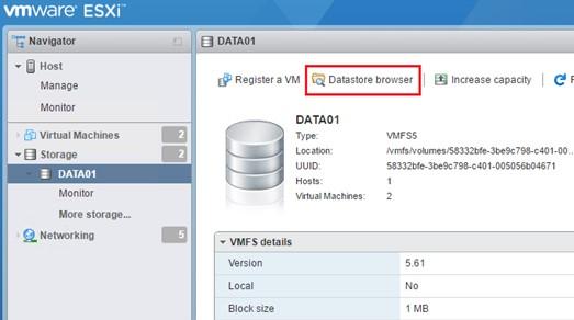 vmware esx просмотр файлов на vmfs старом датасторе