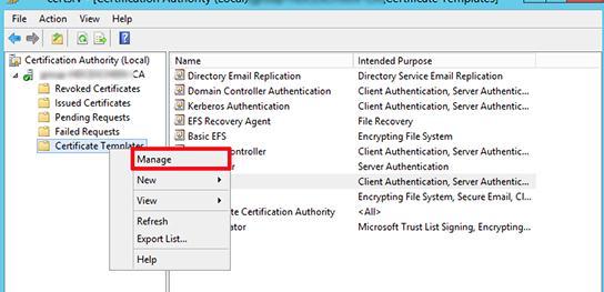 Управление шаблонами сертификатов в консоли Certification Authority