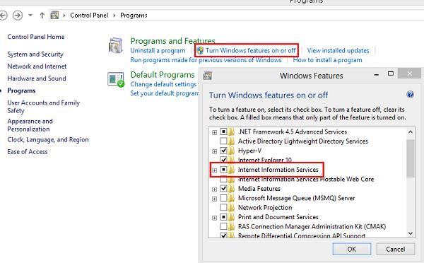Установка IIS в Windows 8