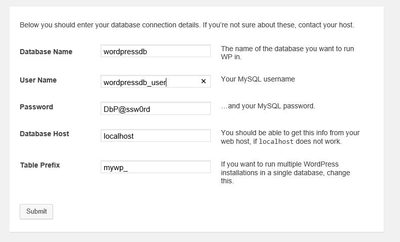 Wordpress параметры подключения к БД MySQL