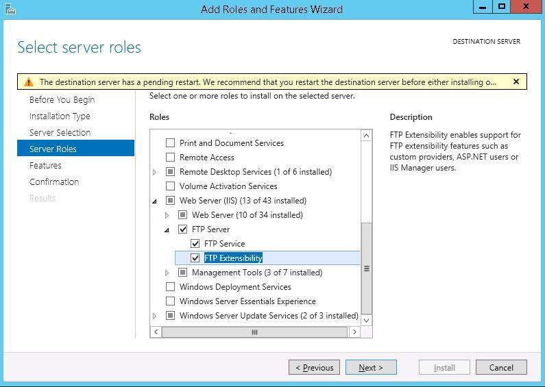 Установка ftp сервера на windows server 2012 r2