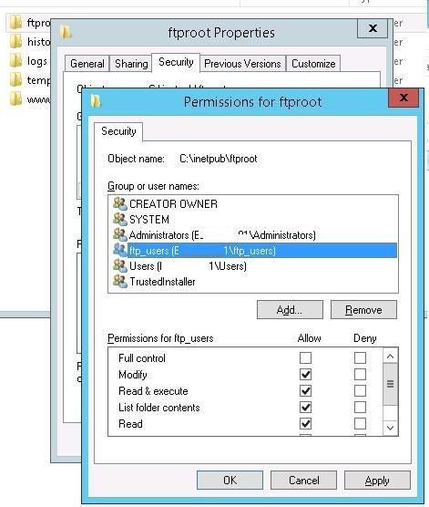 NTFS разрешения на каталог ftproot