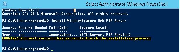 Install-WindowsFeature Web-FTP-Server