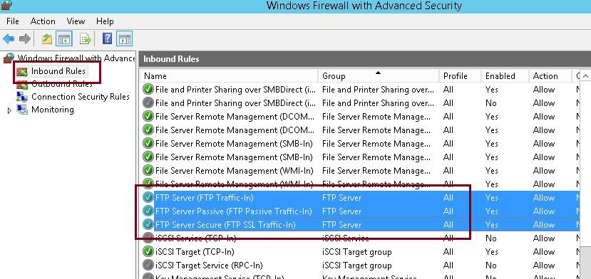 встроенные правила файервола • FTP Server (FTP Traffic-In)