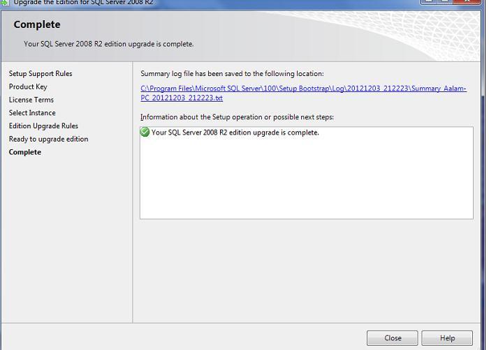 sql server 2008 r2 edition upgrade complete