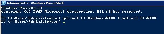 Копирование и перенос NTFS разрешений на каталог C:\Windows\NTDS  с помощью