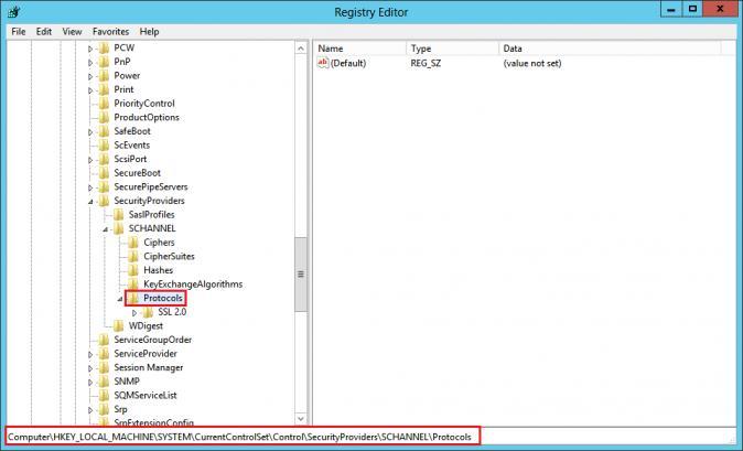 Настройка протоколов шифрования через реестра Windows Server 2012 R2