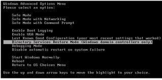 Режим восстановлнеия контроллера домена в Windows 2003