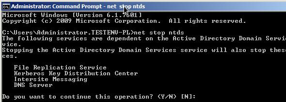 Остановить службы Active Directory в Windows Server 2008