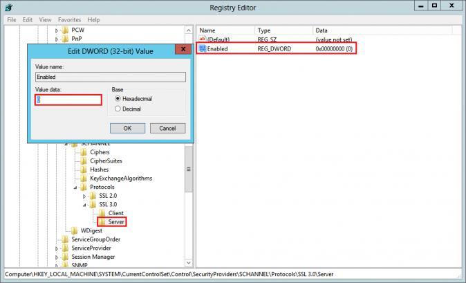Отключить SSL версии 3 на уровне сервера