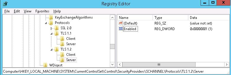 Включить TLS 1.1 и TLS 1.2 в Windows 2012 R2