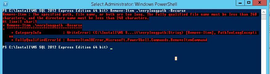 Ошибка при удалении каталога с помощью командлета Powershell Remove-Item