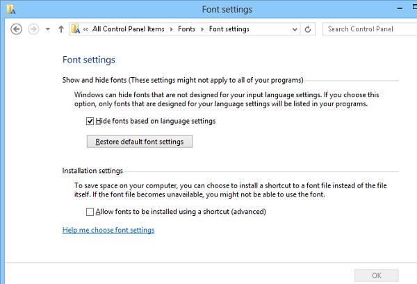 Восстановление параметров шрифта по умолчанию Windows 8