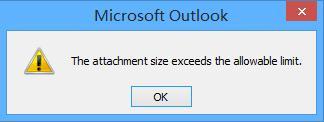 Размер вложения в Outlook превышает допустимый предел