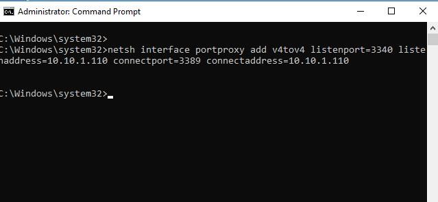 netsh interface portproxy - правило перенаправления портов Windows