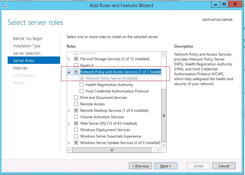Установка роли Network Policy Server на Windows Server 2012 R2