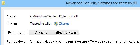 TrustedInstaller  - владелец файла termsrv.dll