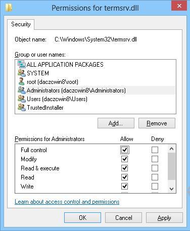 NTFS разрешения на файл termsrv.dll