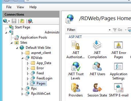 Sites –> Default Web Site –> RDWeb –> Pages