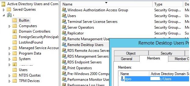 доменная группа Remote Desktop Users