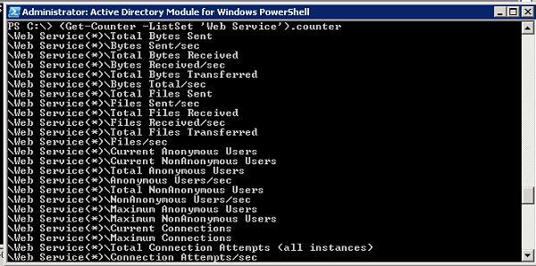 Get-Counter - команда Powershell для плучения списка счетчиков