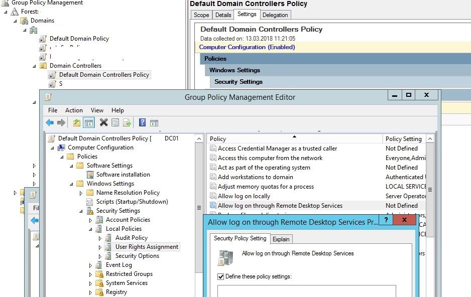 разрешить rdp доступ через политику Default Domain Controllers Policy