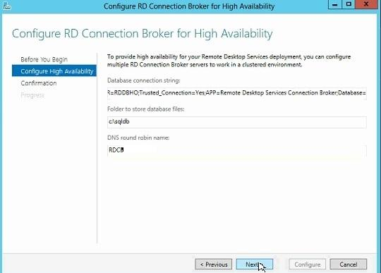Configure RD Connection Broker for High Availability