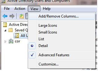 Консоль aduc Add/Remove Columns
