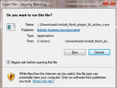 Открыть файл – предупреждение системы безопасности