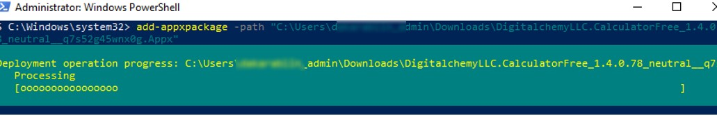 Установка APPX с помощью PowerShell: add-appxpackage