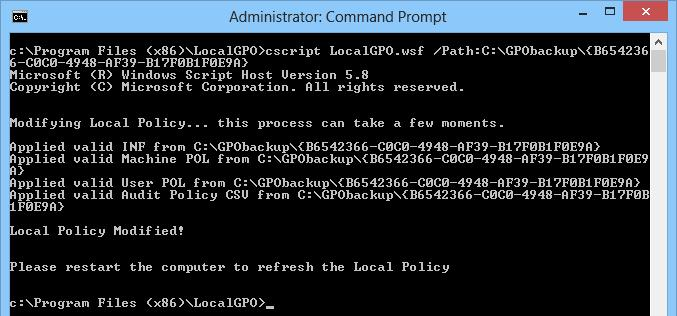 Импорт настроек Local Group Policy