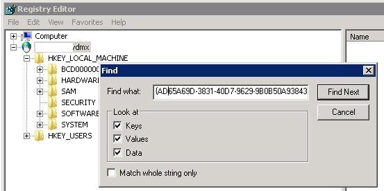 Поиск в реестре по ключу