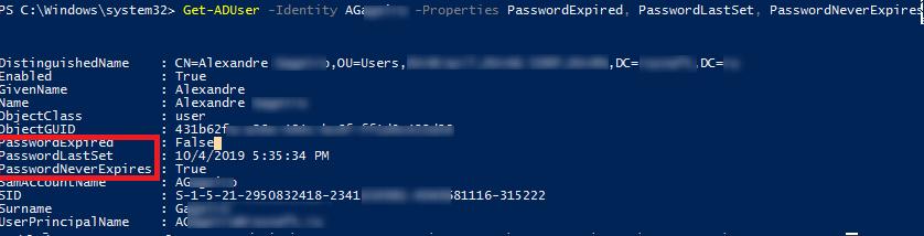 Get-ADUser вывести дату смены пароля (PasswordLastSet) и время последнего входа в домен (lastlogontimestamp)