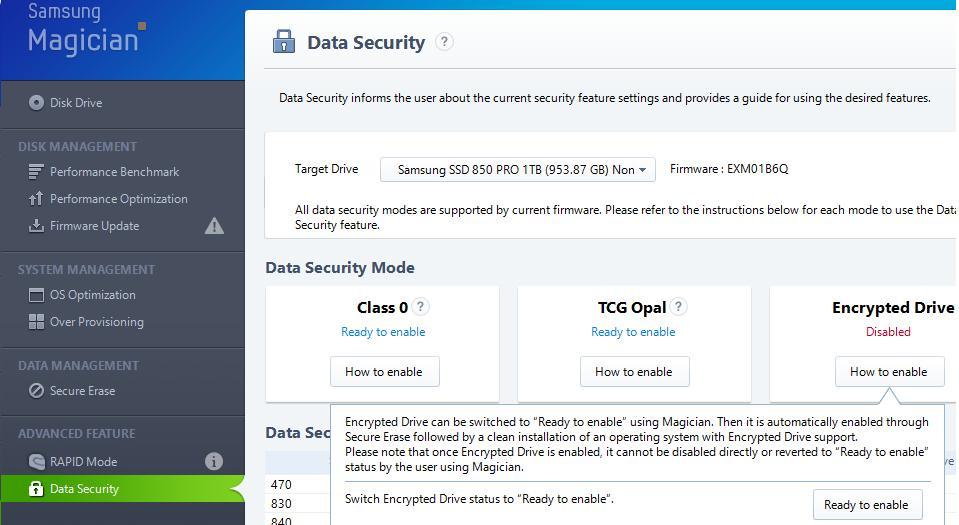 Samsung Magician - параметры  безопасности SSD