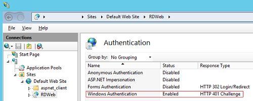 RD WEB - включаем аутентфикацию Windows