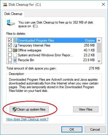 Очистить системные файлы Windows 10