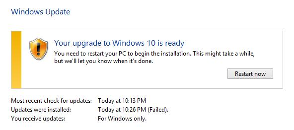 You upgrade to Window 10 is ready