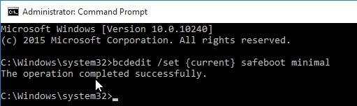 bcdedit /set {current} safeboot minimal