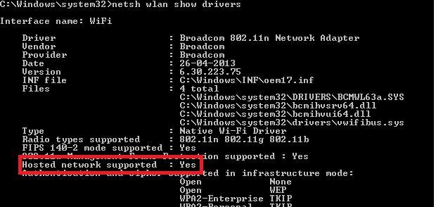Проверка поддержки виртуальной точки доступа драйвером Wi-Fi адаптера
