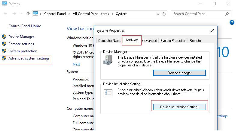 Device Installation Settings - Windows 10