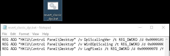 Вернуть классическую схему масштабирования в Windows 10
