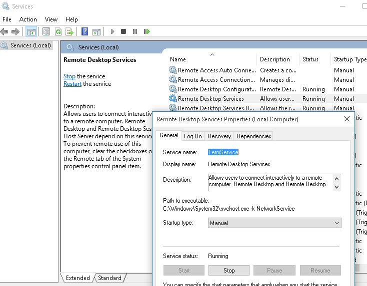 Служба Remote Desktop service