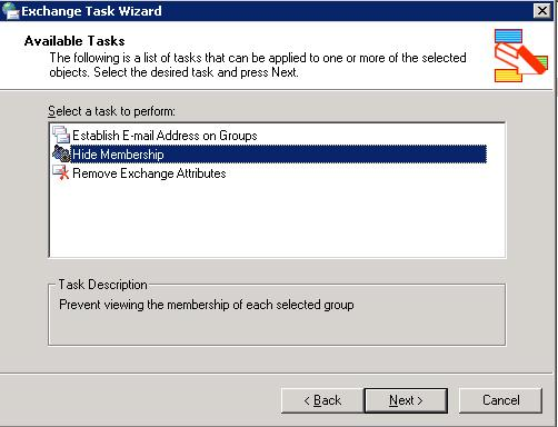 Exchange 2003 hide membership
