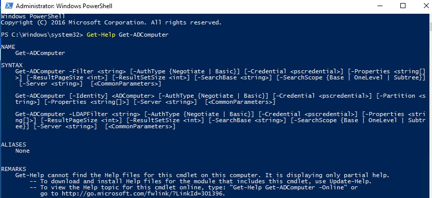 синтаксис командлета Get-ADComputer