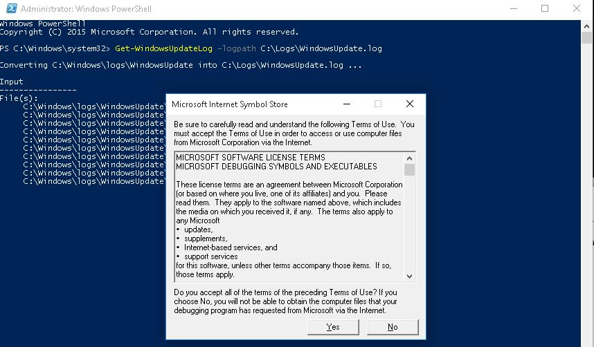 Get-WindowsUpdateLog командлет Powershell
