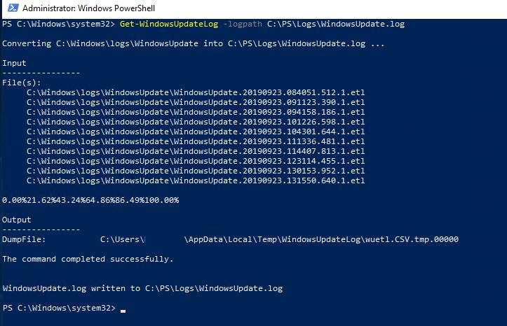 Get-WindowsUpdateLog в WIndows 10