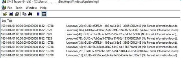 Unknown ( 10): (No Format Information found) - WindowsUpdate.log