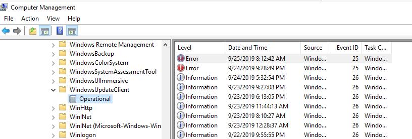 журнал WindowsUpdateClient